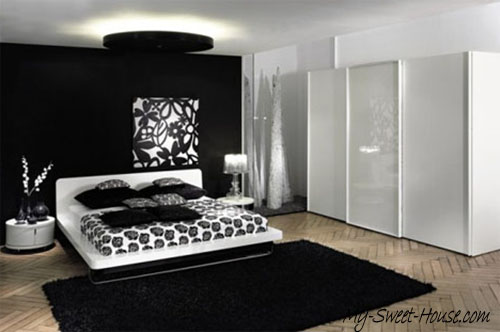 black and white minimalist bedroom design