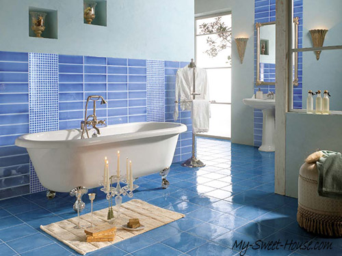 blue bathroom tile design