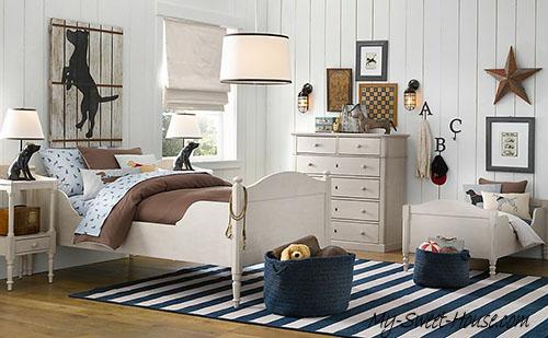 cream blue boys room