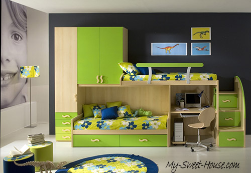 green modern bedrooms for boys