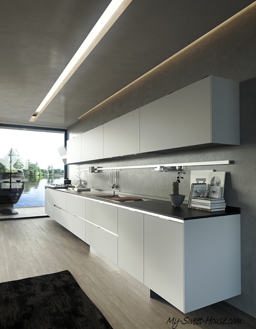 kitchen with metalic trims