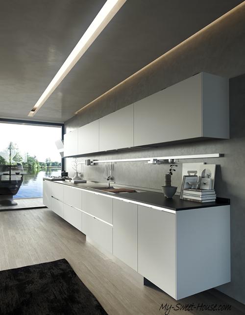 kitchen with metalic trims