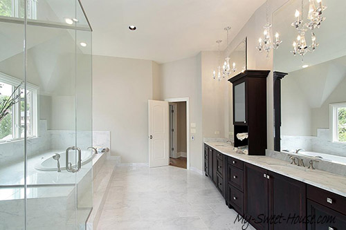 large tile bathroom