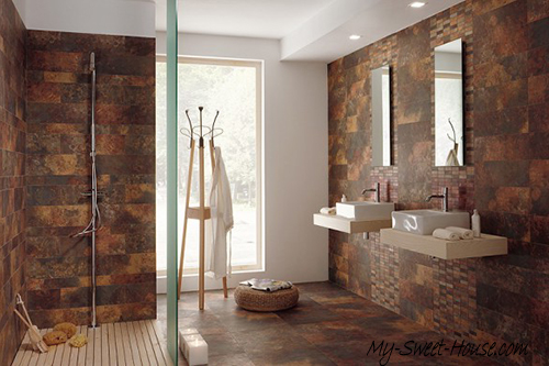 modern tile bathroom interior