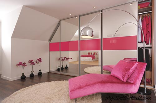 pink glass wardrobe doors