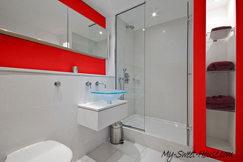 red and white tile bathroom