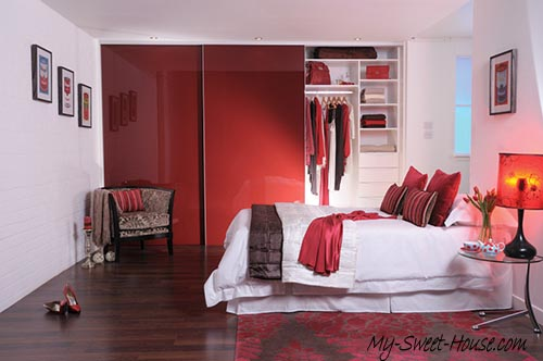 red glass wardrobe doors
