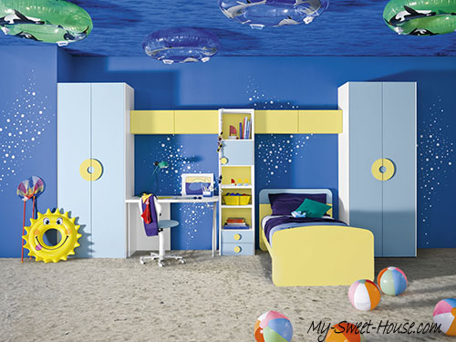 themed blue boy room decor