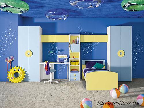 themed blue boy room decor