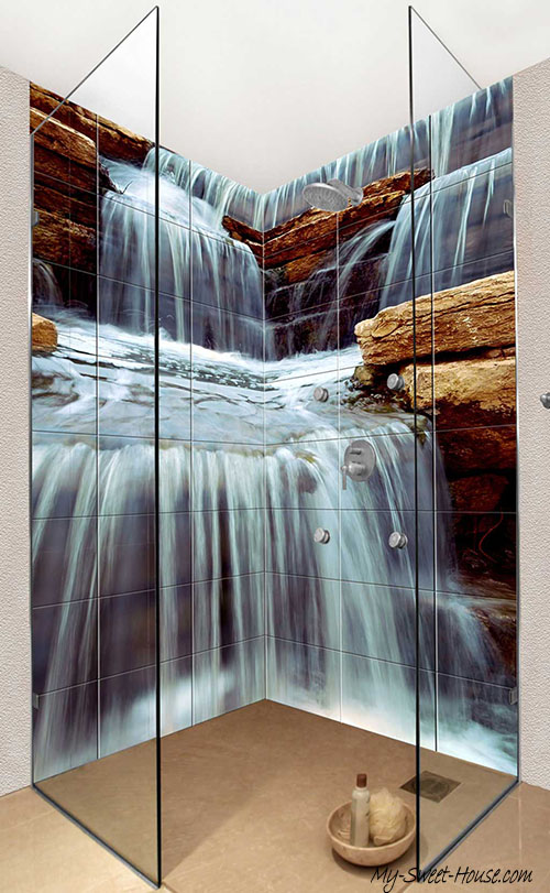 waterfall bathroom tile