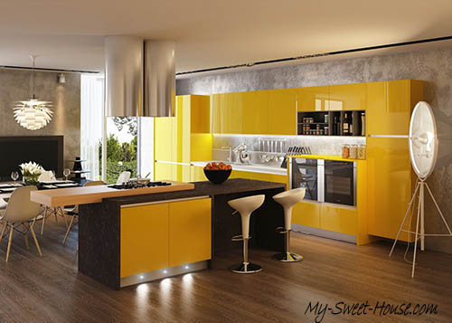 yellow desing for kitchen