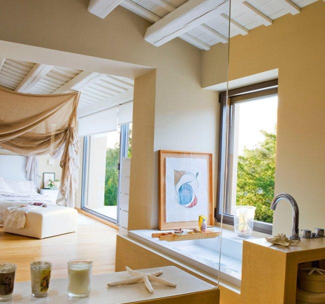 Design Of Bathroom Combined With Bedroom