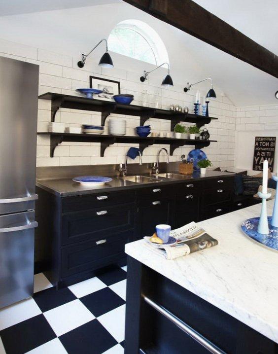 Black and white kitchen - Black shelves on white tiled wall