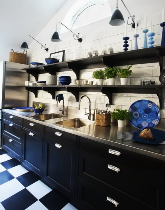 Black and white kitchen - Cooking place
