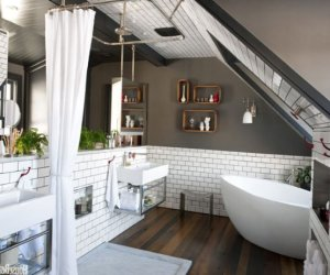 Men's bathroom design on the attic