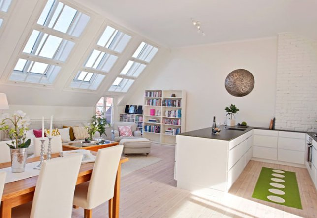 The apartment is located under the roof in Sweden-2