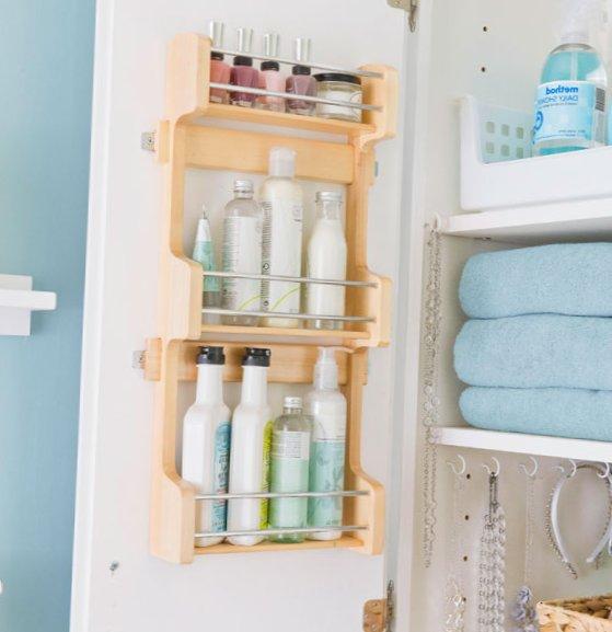 Tiny bathroom - storage and racks for bath accessories