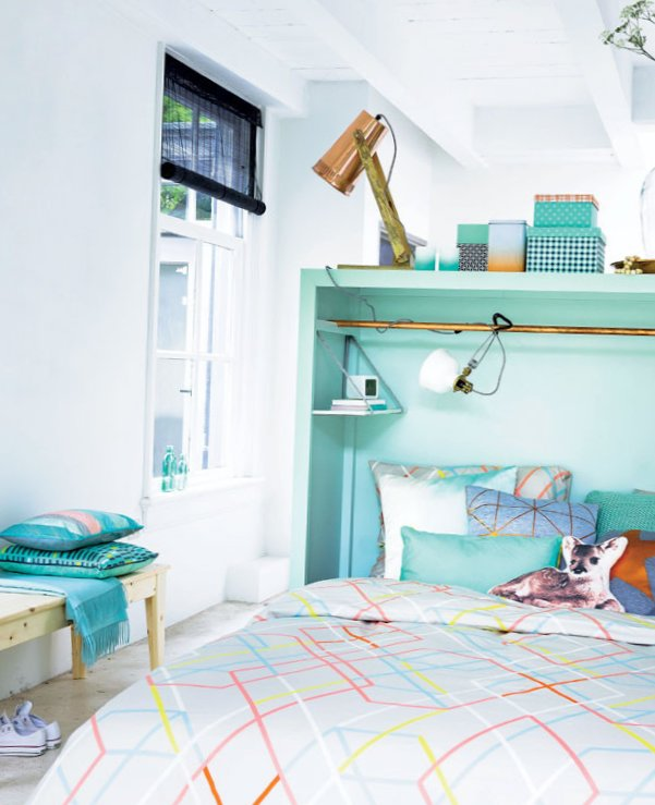 Turquoise bedroom with creative headboard-3