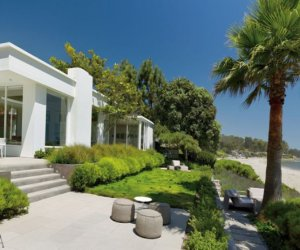 House designed in white color located by the ocean in Santa Barbara