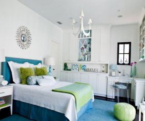 Kids room for girl in green and blue colors