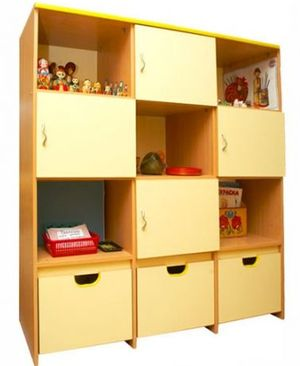 Shelving or closed cabinets for kids room