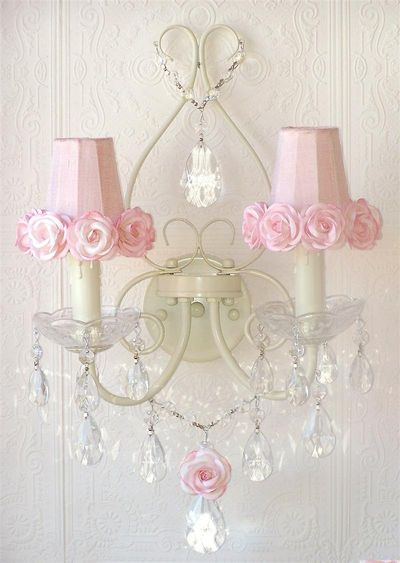 A Vintage Room Double Light Wall Sconce with Rose Shades in Pink