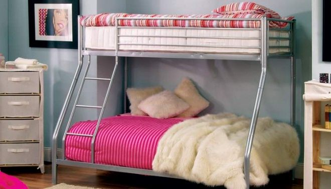 Modern Grey Girls Bunk Beds Vintage Metal Frame Desig