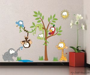 Kids Wall Stickers: Birds, flowers, animals and jungle