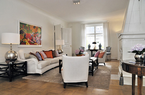 white interior design with art