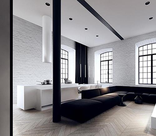 white interior design with black idea 1
