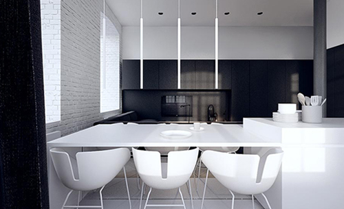 white interior design with black idea 2