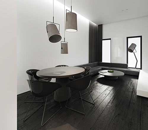white interior design with black idea 5