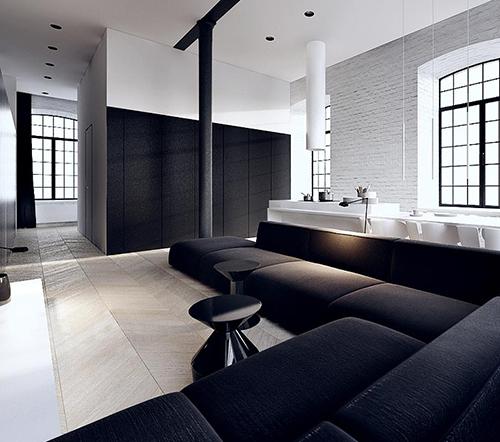 white interior design with black