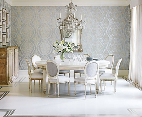 white interior design with crystal