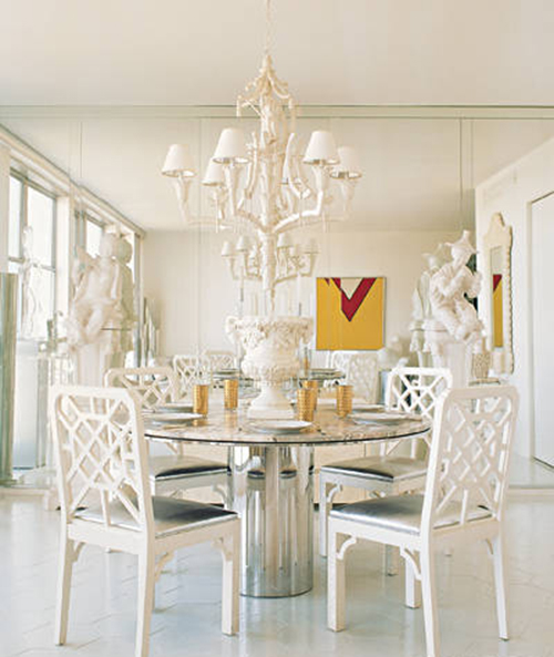 white interior design with vintage